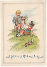 Künstler Ak Bube spiel Akkordeon Mädchen mit Blumenstrauß DDR 1954 (A2611