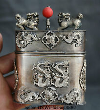 "4.2"" Old China Silver Dynasty Dragon Phoenix Kylin Beast Cigarette box Coccoloba"
