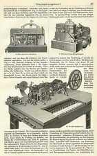 Telegraphenapparate TELEGRAPHIE Morsen HOLZSTICH 1897 Hughes-Apparat Galvanoskop