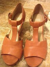 Eileen Fisher SZ 10 T-STRAPE Ankle Buckle Soft Magenta Leather Wedge Sandel New