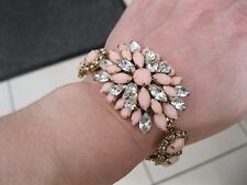 Nour Chunky Swarovski Crystal Bracelet Antique Gold Peach/Clear BNIB
