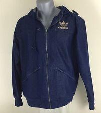 Adidas Originals Dark Blue Denim Jacket Gold Embroidered Logo And Hood Medium
