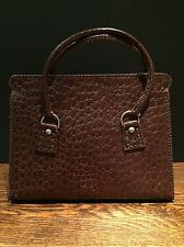 Large English Vintage Leather Shopper Tote Handbag 1950's Mock Reptile Skin Bag
