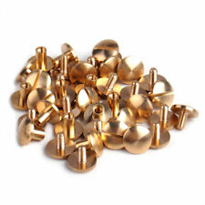 10set Flat Head Brass Solid Stud Screw Nail Rivets Leather Craft Wallet BelBICA