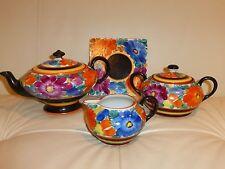 Vintage Joseph Mrazek Early Black Bird Mark Czech Floral Pottery Set