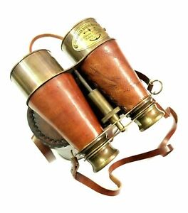 "Nautical Maritime Brass Leather Binocular 6"" Spyglass with Leather Cover"