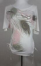Cocomo Womens Top Medium Peacock Feathers Dolman Sleeve Side Ties White Pink