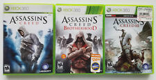 MICROSOFT XBOX 360 LIVE ASSASSINS CREED & BROTHERHOOD 2 & III 3 RPG VIDEO GAMES