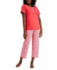 Charter Club Women's Cotton Capri Pajama Set Poppy Ditsy XS