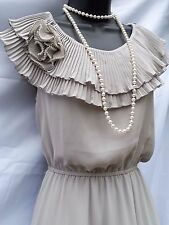 Yumi Ruffle Neck dress UK 12 Silver Grey Pearls Wedding Occasion Party Races