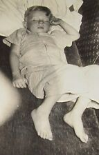 Cute Little Boy SLEEPING on Couch Vintage PHOTO Pajamas Sweet Child Barefoot NAP