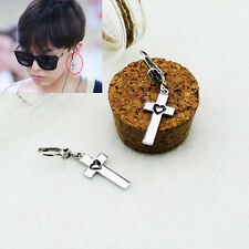 G-Dragon GD BIGBANG BB Cross Heart SILVER EARRINGS KPOP NEW FR695
