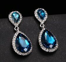 Fashion 925 Silver Blue Topaz Gemstone Stud Dangle Earrings Bridal Party Jewelry
