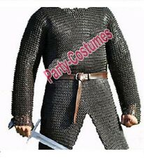 9MM CHAINMAIL HAUBERK SHIRT MEDIUM FLAT RIVETED WITH WASHER OILED MEDIEVAL