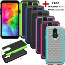 For LG Q7 Plus/Alpha Shockproof Rugged Bumper Hybrid Case Cover+Tempered Glass