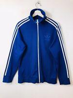 Vintage 90's Adidas Originals Track Jacket Tracksuit Top Blue Retro Medium Men's