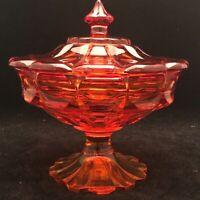 "Fenton Amberina Covered Pedestal Compote USA Art Glass 7.5"" Tall"