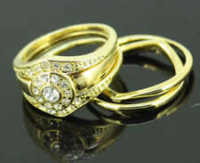 Classic 3pc 18k yellow gold filled GF sets ring Sz7 R-A252