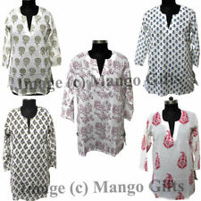 Women Wear Block Print cotton Tunics Tops Wholesale lot V Neck Indian Handblock