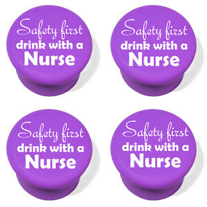 Silicone Wine Bottle Stopper Set of 4 Safety First Drink With A Nurse