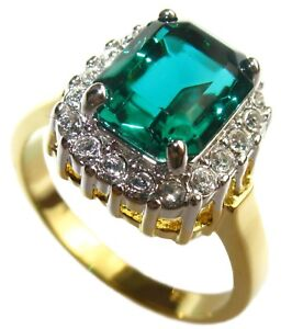 Ah! Jewellery® 10.8mm Swarovski® Elements Emerald Green Gold Electroplated Ring