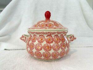 "Boleslawiec Polish Pottery Red & Orange Flowers Dish with Lid 8"" wide x 6"" Tall"