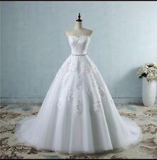 UK Plus Size White/Ivory Wedding Dress Bridal Ball Gown Size 6-26