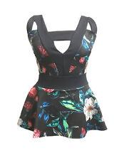 Womens Ladies Celebrity V Neck Peplum Top Plus Size 16 18 20 22 24 Wine Flower Print 20