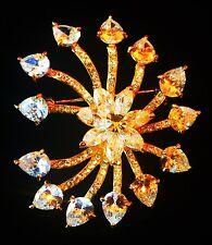BROOCH PIN Using Swarovski Crystal Gemstone Wedding Bridal Gold Flower Clear 02