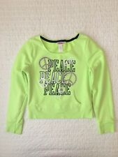 Justice Girls Crewneck Crop Sweater Peace Neon Green Rhinestones Size 8 EUC