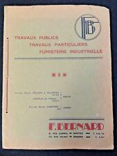 Ancien Catalogue Publicitaire F.Bernard TP Nantes Usine Amieux Gondolo Pont
