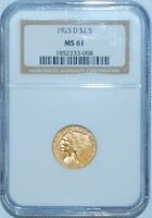 1925 D NGC MS61 $2.50 $2 1/2 Gold Indian Head Quarter Eagle