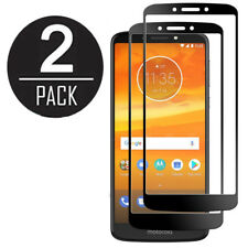 2X PACK BLACK FULL COVERAGE TEMPERED GLASS FOR MOTOROLA MOTO E5 PLUS E5 SUPRAE