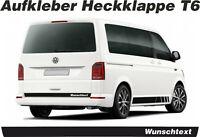 VW T6 Aufkleber Heckklappe Wunschtext Wunschlogo Wunschfarbe Bus Dekor Decal