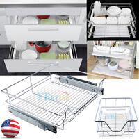 Wire Basket Sliding Kitchen Rack Cabinet Storage Drawer Organizer Pull Out Shelf
