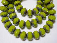 25 8x6mm Avacado Green Travertine Czech Glass Picasso Rondelle beads