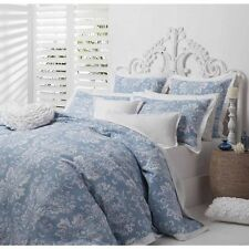 New LOGAN and MASON JORDANA BLUE Waffle Weave QUEEN Size Quilt Doona Cover Set