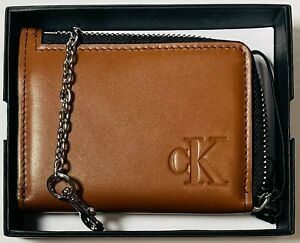 Calvin Klein CK Men's Brown Leather Wallet With Chain Gift Box Set BRAND NEW