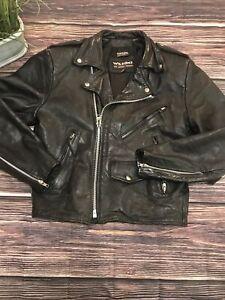 wilsons leather Black Motorcycle Biker Jacket Mens Size Adult Small vintage 90's