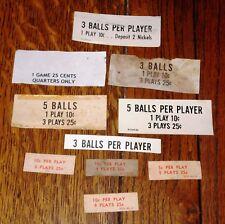 10 - 1960's-70's Pinball & Arcade Machine Original Games/Balls Per Play Cards