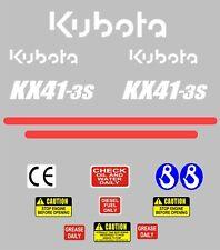 Decal Sticker Set. Kubota KX41-3S Mini Digger Pelle Bagger Pelleteuse