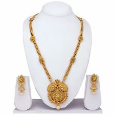 South Indian Gold plated traditional Necklace & earrings,temple Long jewelry set