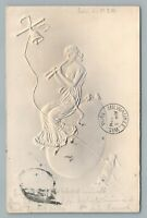 Flute Playing Woman on Easter Egg—Airbrushed Embossed Antique German Postcard 04
