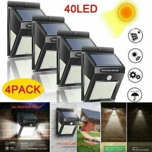 4x 40 LED Solar Luz de Pared Impermeable Sensor de Movimiento Lámpara Exterior