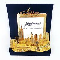 Skylines Photoframe Ornament Minature Gold Christmas Newyork City Souvenir