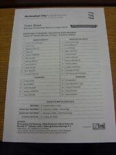 14/02/2006 Birmingham City Reserves v Manchester United Reserves  (Single Sheet,