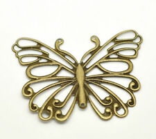 """Lot of 5 BUTTERFLY Antique Bronze-tone FILIGREE WRAPS 2-1/2"""" (66mm) (18419)"""