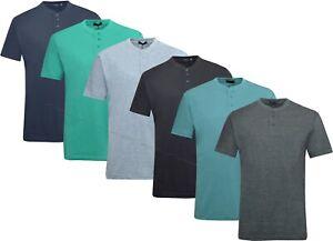 Mens Henley T-shirt Plain Short Sleeve Grandad Neck Top Casual Summer M - 2XL
