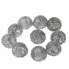 10pcs Easy Use Tobacco Pipe Silver Screen Metal Ball Filter Help Combustion 17mm