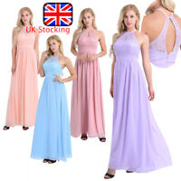 UK Long Halter Lace Sleeveless Bridesmaid Dress Evening Cocktail Party Prom Gown